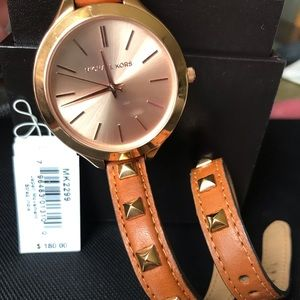 Michael Kors Runway Rose Dial Brown Leather Watch